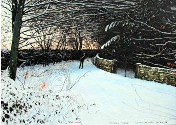 Peter Brook Limited Edition Print Pausing Whilst Walking In the Woods