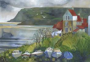 Kate Lycett Limited Edition Print Fossiling Robin Hoods Bay